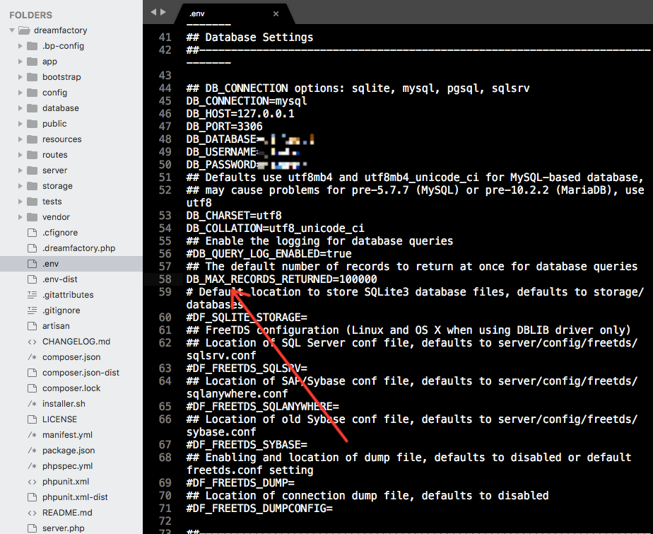 DB_MAX_RECORDS value